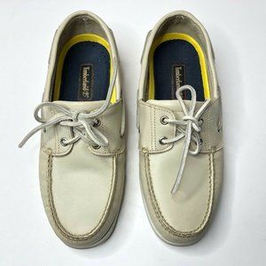 Timberland Mens Cream Leather Boat Shoes 10M